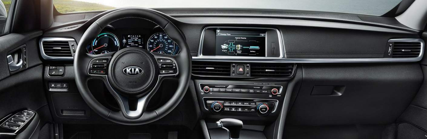 Cockpit Inside of the 2018 Kia Optima Hybrid