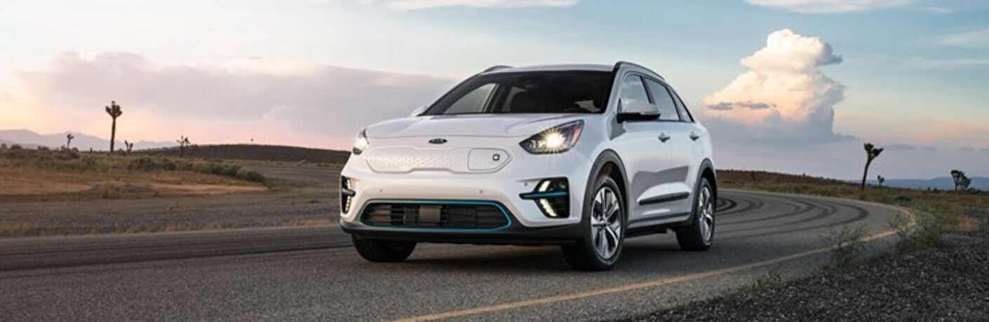 Exterior view of a white 2020 Kia Niro EV