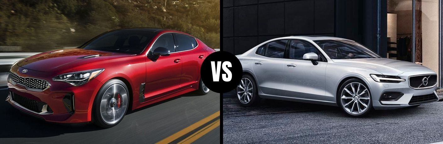 Comparison image of a red 2019 Kia Stinger and a silver 2019 Volvo S60