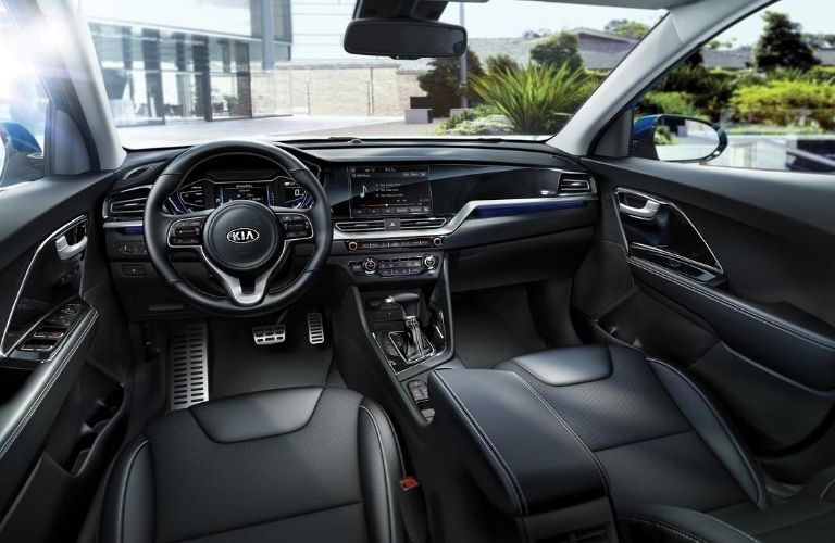 Interior view of the front seating area inside a 2020 Kia Niro Plug-In Hybrid