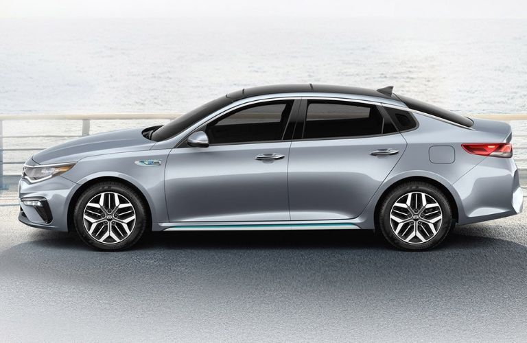 Exterior view of a silver 2020 Kia Optima Hybrid