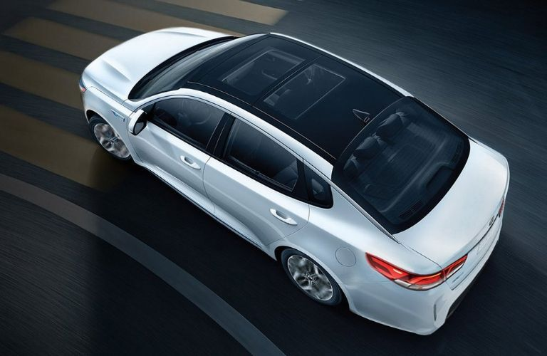 Exterior view of the top of a silver 2020 Kia Optima Hybrid