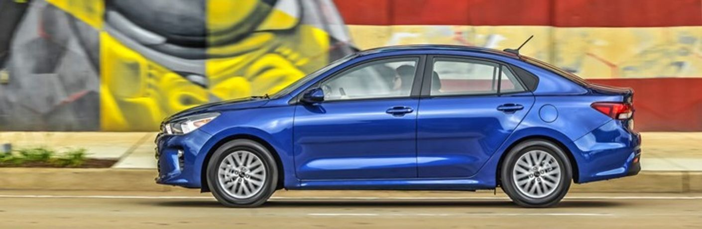 Exterior view of a blue 2020 Kia Rio