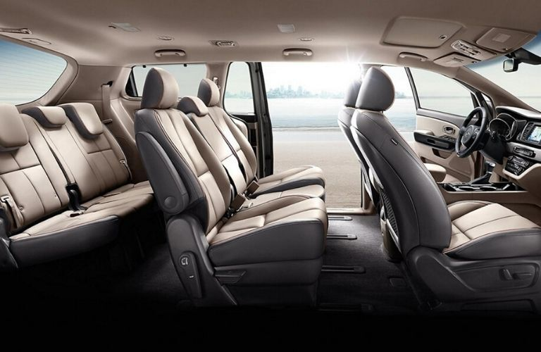 Interior view of the rear seating area inside a 2020 Kia Sedona