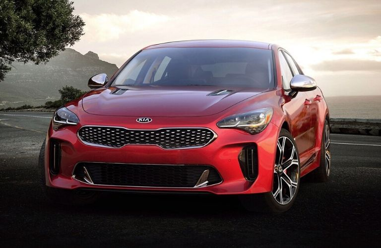 Exterior view of the front of a red 2020 Kia Stinger