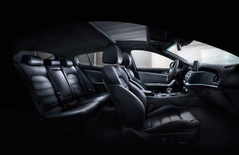 Interior view of the black seating inside a 2020 Kia Stinger