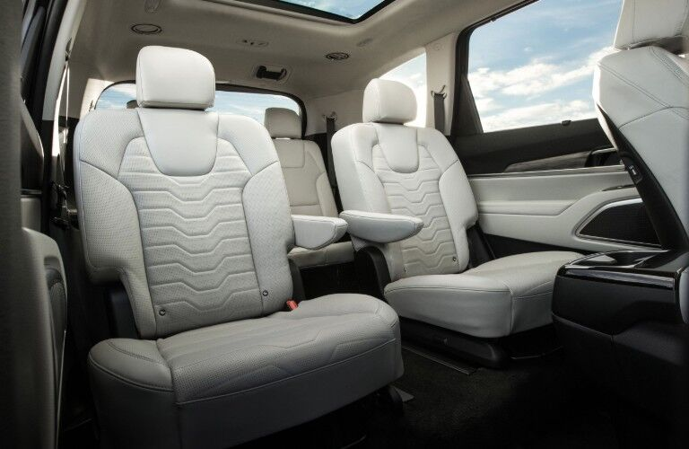 Interior view of the rear seating area inside a 2021 Kia Telluride