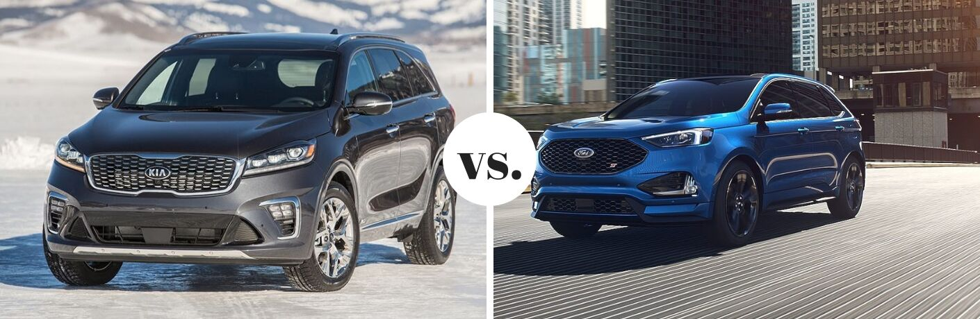 2019 Kia Sorento and 2019 Ford Edge in comparison image