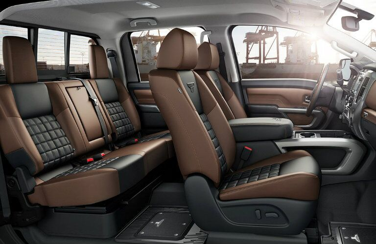 Cutaway of 2017 Nissan Titan Crew Can Interior with Black and Brown Upholstery