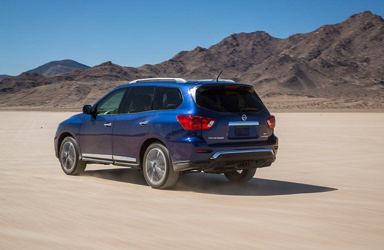 Blue 2017 Nissan Pathfinder in Desert