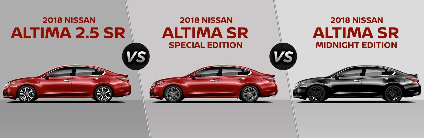 Split Screen Images Of The 2018 Nissan Altima SR Vs SR Special Edition Vs  SR Midnight