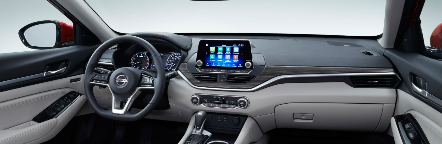 A photo of the front dashboard of the 2019 Nissan Altima.