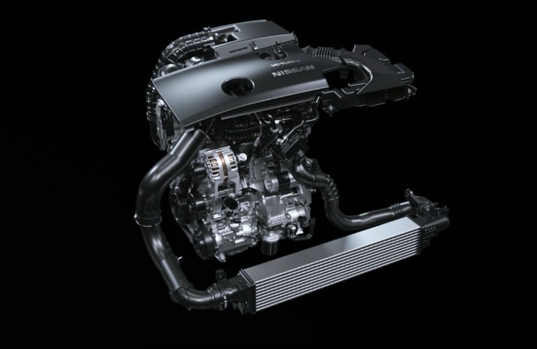 A photo of the new engine used in the 2019 Altima.