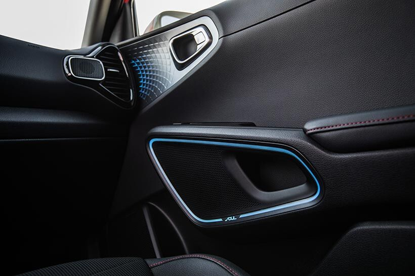 The interior speaker system of a 2020 Kia Soul