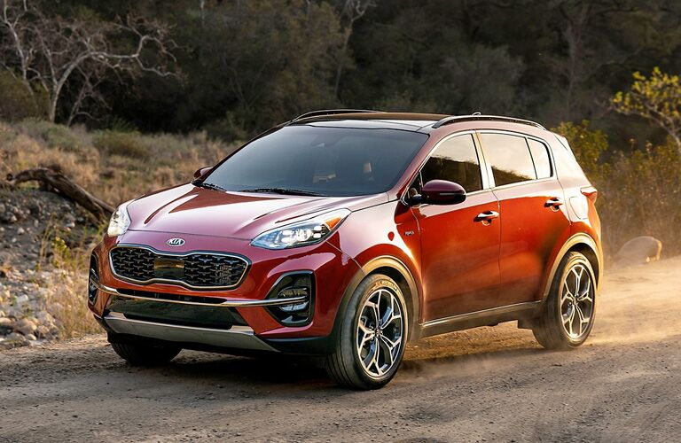 2020 Kia Sportage parked on the dirt trail