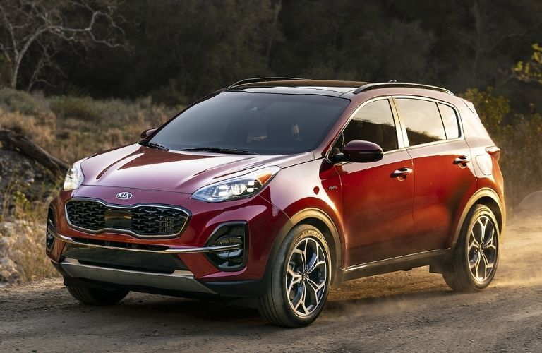 2021 Kia Sportage side and front view