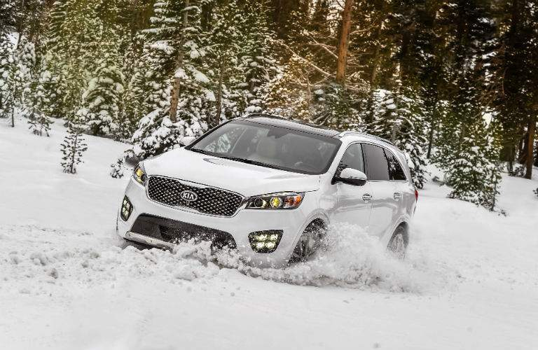 Available V-6 power and all-wheel drive help the 2017 Sorento handle winter driving