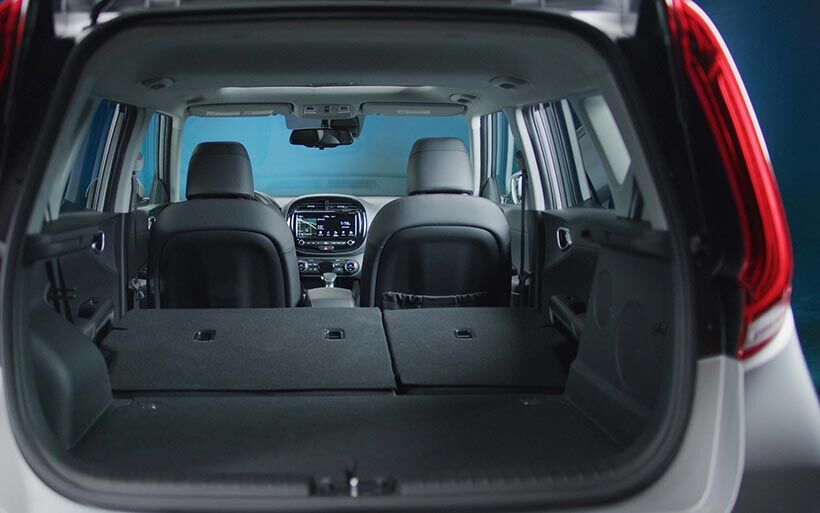 Looking through the open lift-gate of a 2020 Kia Soul