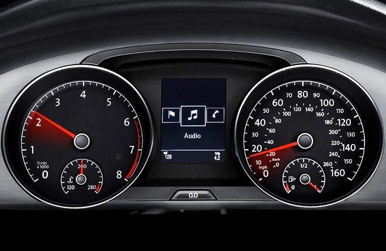Volkswagen Golf Sportwagen instrument display cluster with digital screen.