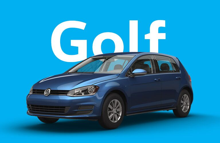 "Blue Volkswagen Golf hatchback sits in front of a light blue background and large white text that reads, ""Golf."""