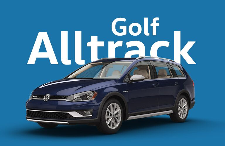 "Dark blue/purplish Volkswagen Golf Alltrack sits in front of a blue background and white text that reads, ""Golf Alltrack."""