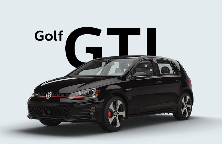 "Black Volkswagen Golf GTI sits in front of a grey background and large black text that reads, ""Golf GTI."""