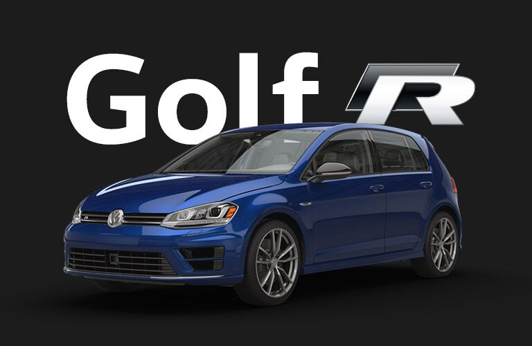 "Blue Volkswagen Golf R sits in front of a black background and gigantic white text that reads, ""Golf R."" The ""R"" is stylized as if to imply racing."