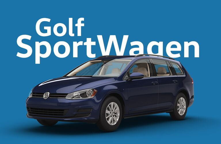 "Blue Volkswagen Golf Sportwagen sits in front of a blue background beneath giant white text that reads, ""Golf Sportwagen."""