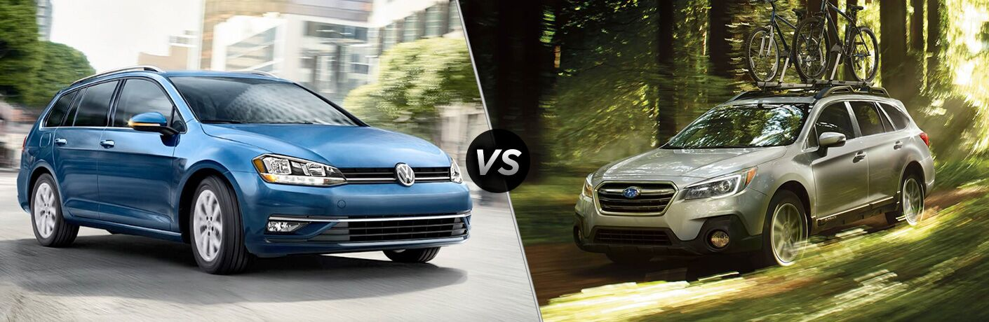 Split screen images of the 2018 Volkswagen Golf SportWagen and the 2018 Subaru Outback