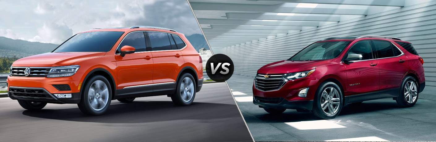 Split screen images of the 2018 Volkswagen Tiguan and the 2018 Chevy Equinox
