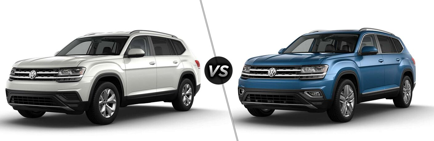 "2019 Volkswagen Atlas S and 2019 Volkswagen Atlas SEL separated by a diagonal line and a ""VS"" logo."