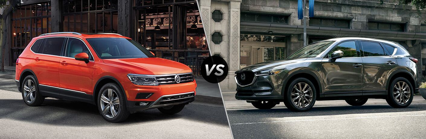 "2019 Volkswagen Tiguan and 2019 Mazda CX-5 separated by a diagonal line and ""VS"" logo."