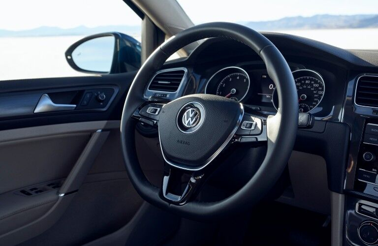 A photo of the driver's cockpit in the 2021 Volkswagen Golf.