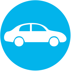 A blue icon overlaid by a white car illustration.