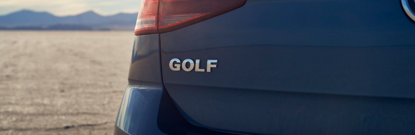 A photo of the Golf badge worn by the 2021 Volkswagen Golf.