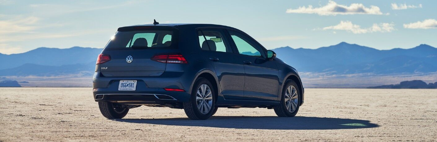 A rear right quarter photo of the 2021 Volkswagen Golf.