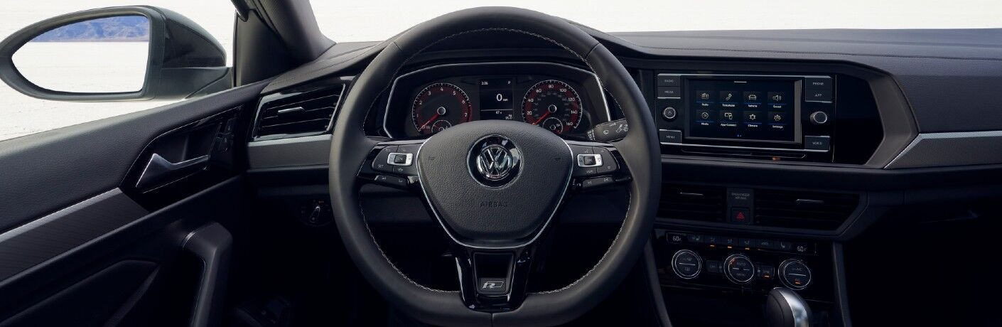 A photo of the driver's cockpit in the 2021 Volkswagen Jetta.
