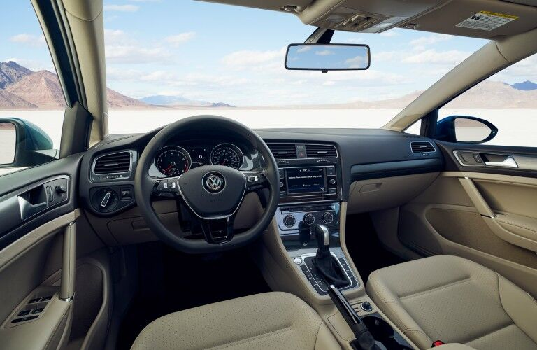 A photo of the driver's cockpit and dashboard in the 2021 Volkswagen Golf.