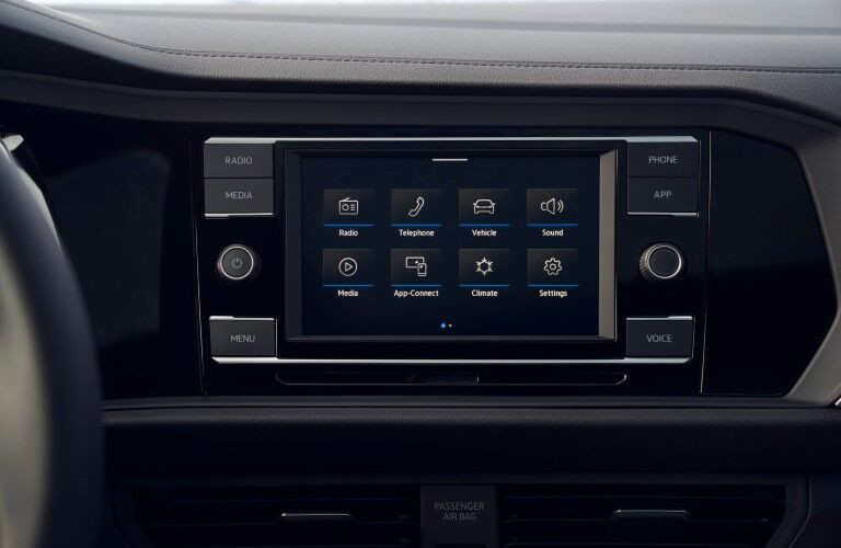 A photo of the touchscreen available in the 2021 Volkswagen Jetta.