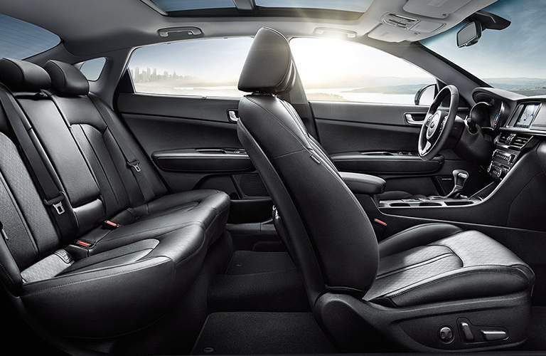black interior seating in the 2018 Kia Optima Hybrid