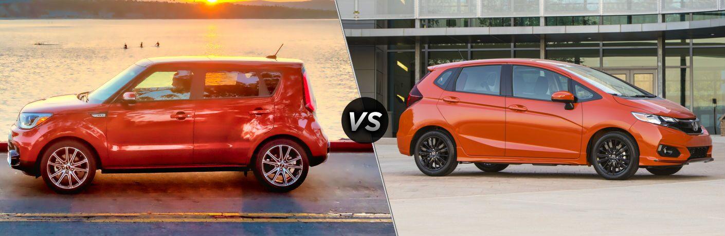 2018 Kia Soul Exterior Driver Side Profile vs 2018 Honda Fit Exterior Passenger Side Profile