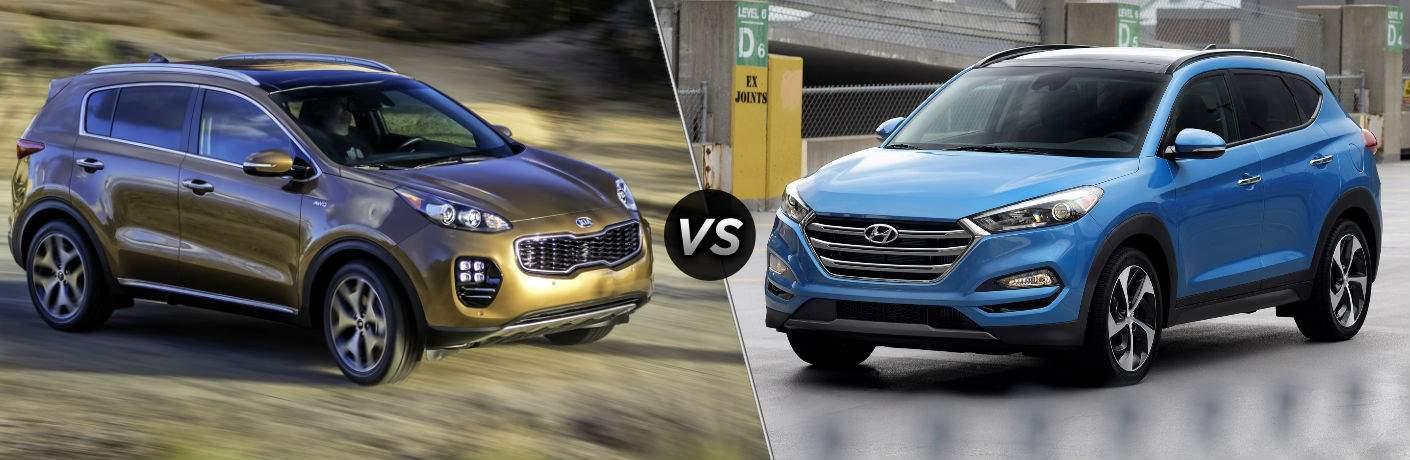 2018 Kia Sportage Exterior Passenger Side Front vs 2018 Hyundai Tucson Exterior Driver Side Front