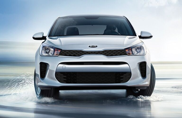 Front view of white 2019 Kia Rio 5-Door
