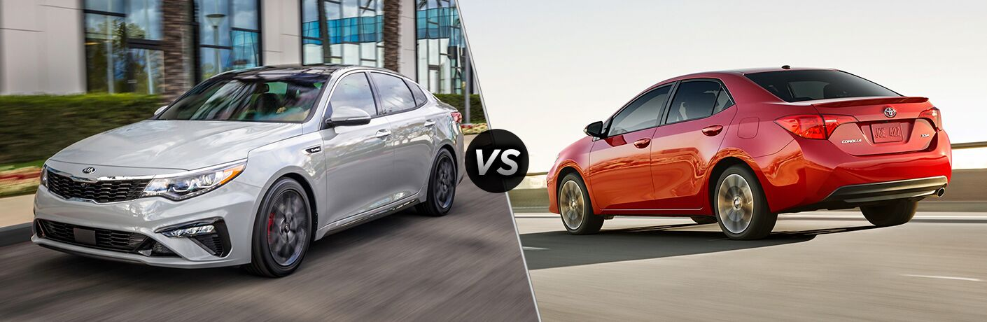 2019 Kia Forte Exterior Driver Side Front Angle vs 2019 Toyota Corolla Exterior Driver Side Rear Angle
