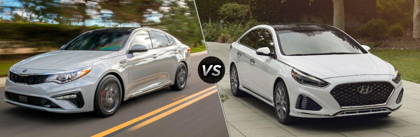 2019 Kia Optima Exterior Driver Side Front Angle vs 2019 Hyundai Sonata Exterior Passenger Side Front Angle
