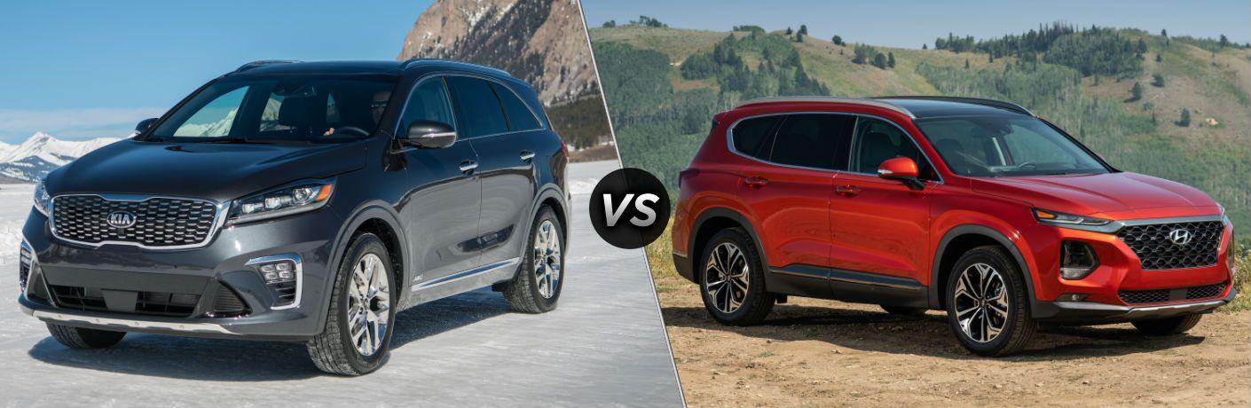 2019 Kia Sorento Exterior Driver Side Front Angle vs 2019 Hyundai Santa Fe Exterior Passenger Side Front Profile
