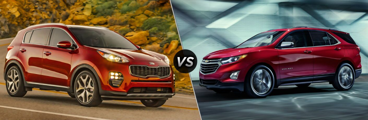 2019 Kia Sportage Exterior Passenger Side Front Angle vs 2019 Chevy Equinox Exterior Driver Side Front Profile