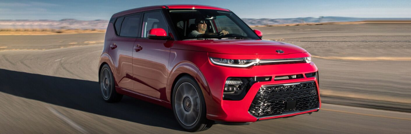 2022 Kia Soul in red on road image