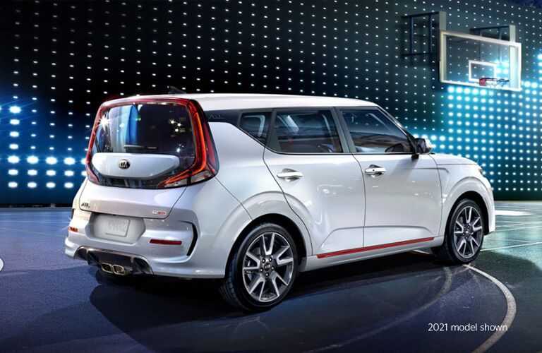 2021 Kia Soul in white on an LED lit stage