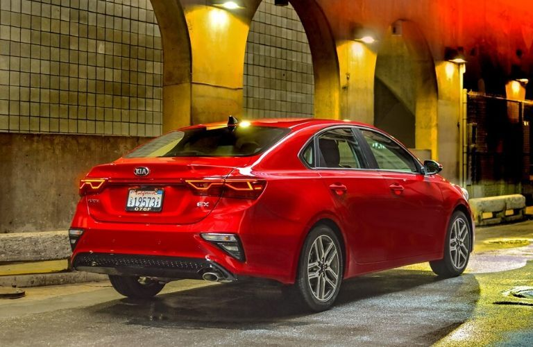 Red 2020 Kia Forte from exterior passenger side rear